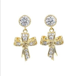 Fashion gold ribbon cross crystal earrings